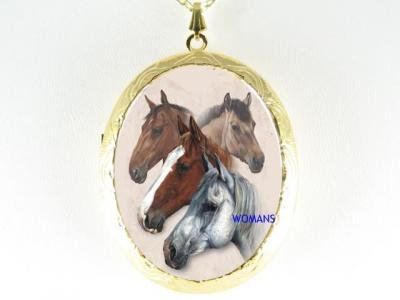STALLION HORSE HEAD COLLAGE PORCELAIN CAMEO LOCKET NECKLACE