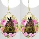 ZENYATTA CHAMPION HORSE PINK ROSE PORCELAIN CAMEO EARRINGS