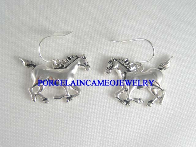 RUNNING SILVER STALLION HORSE SILVER PLATED EARRINGS