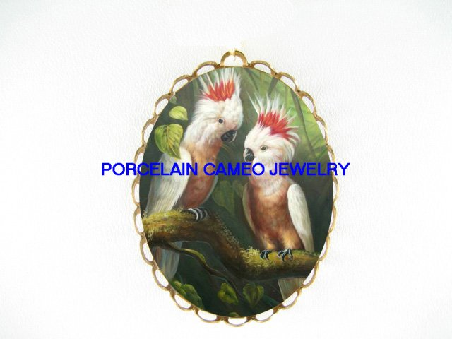 2 LOVING MOLUCCAN COCKATOO BIRD CAMEO PORCELAIN PIN PENDANT BROOCH