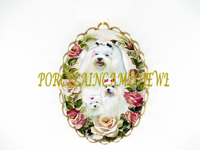 MALTESE DOG FAMILY MOM CUDDLING PUPPY ROSE CAMEO PORCELAIN PIN BROOCH