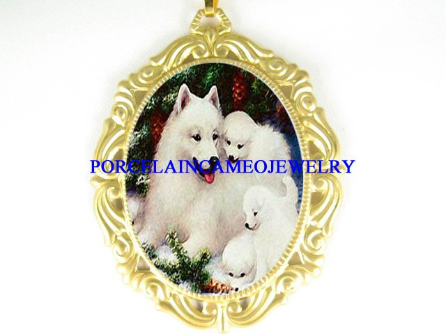 SAMOYED DOG FAMILY PORCELAIN CAMEO PENDTANT NECKLACE