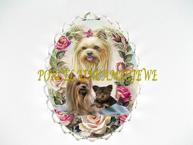 YORKSHIRE TERRIER DOG MOM CUDDLING PUPPY ROSE CAMEO PORCELAIN PIN BROOCH