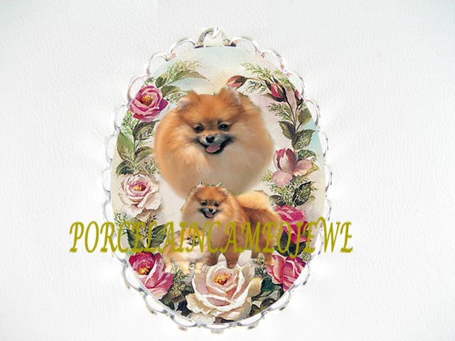 POMERANIAN DOG MOM CUDDLE PUPPY PINK ROSE PIN BROOCH