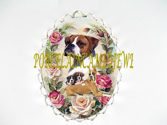 BOXER DOG MOM CUDDLE PUPPY PINK ROSE PIN BROOCH