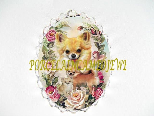 CHIHUAHUA DOG MOM CUDDLE PUPPY PINK ROSE PIN BROOCH