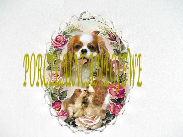 CAVALIER KING SPANIEL  DOG MOM PUPPY ROSE CAMEO PIN BROOCH