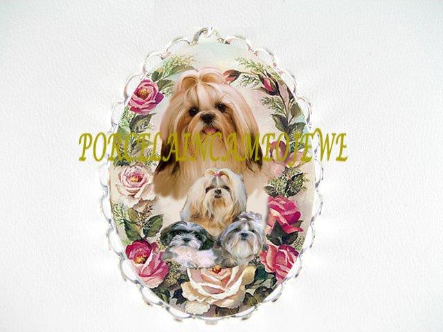 SHIH TZU DOG MOM PUPPY ROSE CAMEO PIN BROOCH