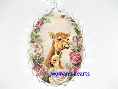 LLAMAS MOM BABY CUDDLING ROSE CAMEO PORCELAIN NECKLACE