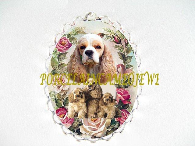 COCKER SPANIEL DOG MOM PUPPY ROSE CAMEO PIN BROOCH