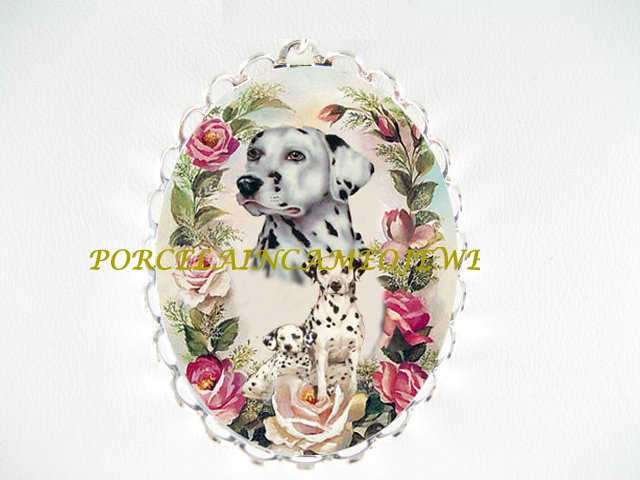 DALMATIAN DOG MOM PUPPY ROSE CAMEO PORCELAIN PIN BROOCH