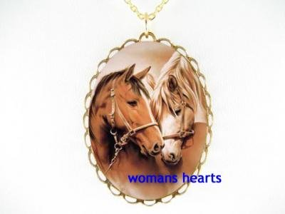 STALLION MARE FOAL HORSE CUDDLE PORCELAIN CAMEO NECKLACE