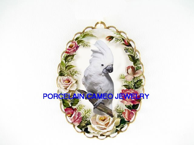 COCKATOO BIRD WITH ROSE CAMEO PORCELAIN PIN PENDANT BROOCH
