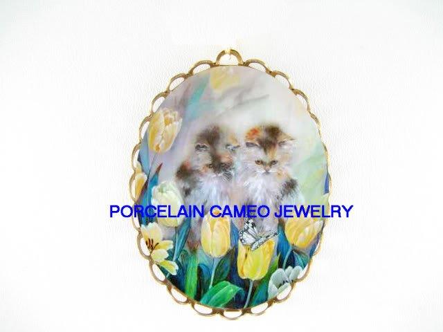 2 KITTY CAT FLOWER BUTTERFL CAMEO PORCELAIN PIN PENDANT