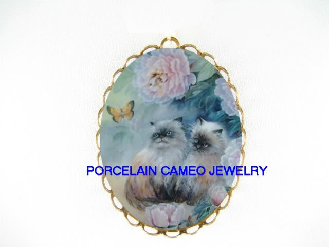 2 KITTY CAT PEONY BUTTERFLY CAMEO PORCELAIN PIN PENDANT