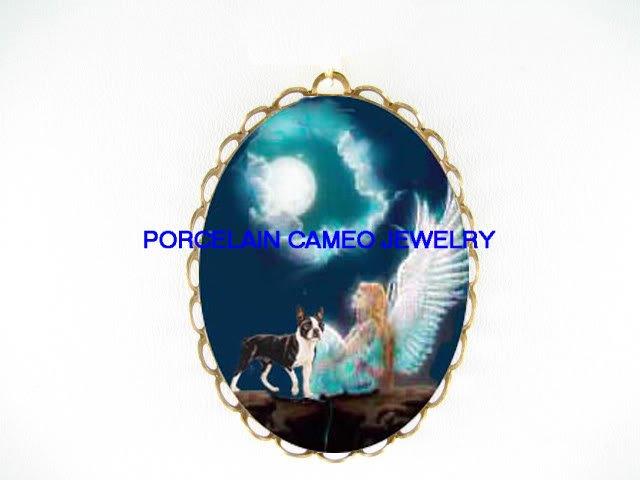 ANGEL MOON BOSTON TERRIER DOG CAMEO PORCELAIN PIN PENDANT