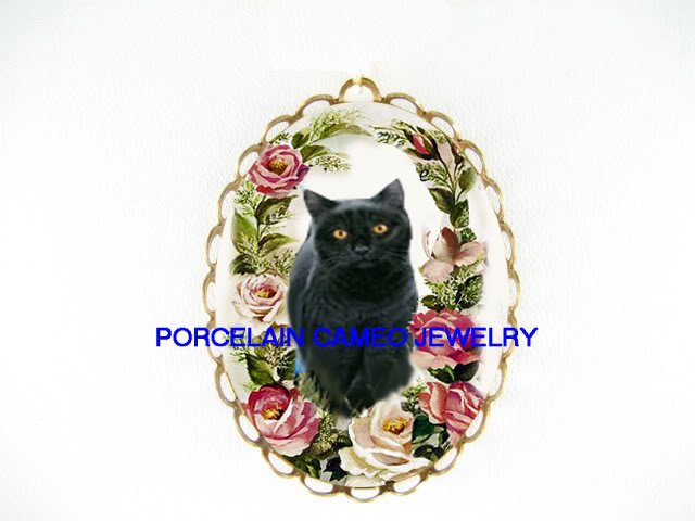BLACK CAT VICTORIAN ROSE CAMEO PORCELAIN PIN PENDANT