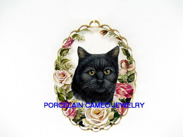 BLACK CAT PINK ROSE CAMEO PORCELAIN PIN PENDANT