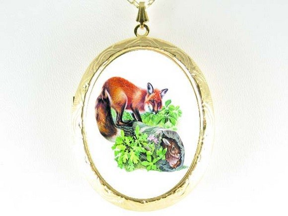 RED FOX AND RABBIT PORCELAIN CAMEO LOCKET NECKLACE