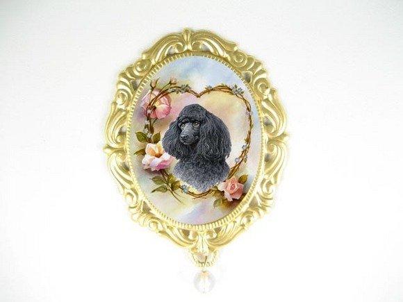 BLACK POODLE DOG OPAL PORCELAIN CAMEO PENDTANT PIN