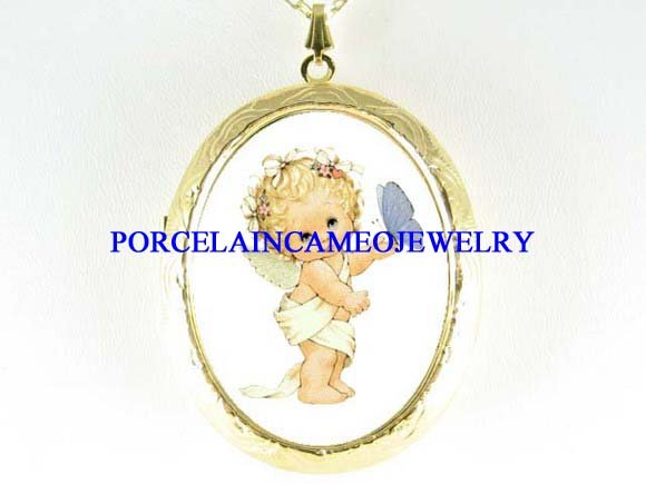 ANGEL BUTTERFLY PORCELAIN CAMEO LOCKET NECKLACE
