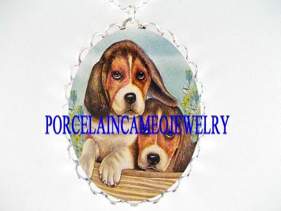 2 BEAGLE PUPPY CUDDLING DOG PORCELAIN CAMEO NECKLACE