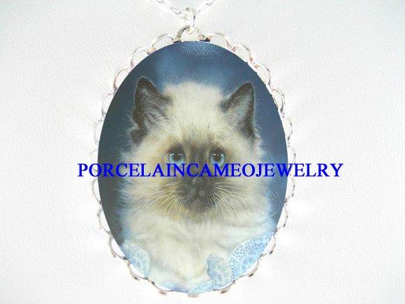 BLUE EYES HIMALAYAN CAT PORCELAIN CAMEO NECKLACE