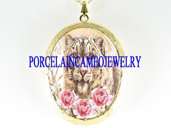 SNOW WHITE LEOPARD ROSE PORCELAIN CAMEO LOCKET NECKLACE