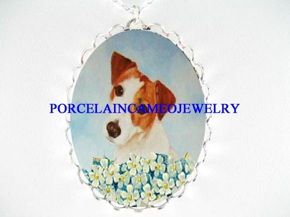 JACK RUSSELL DOG FORGET ME NOT PORCELAIN CAMEO NECKLACE