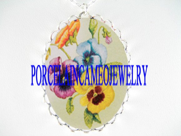 3 COLORS PANSY FLOWER PORCELAIN CAMEO PENDANT NECKLACE