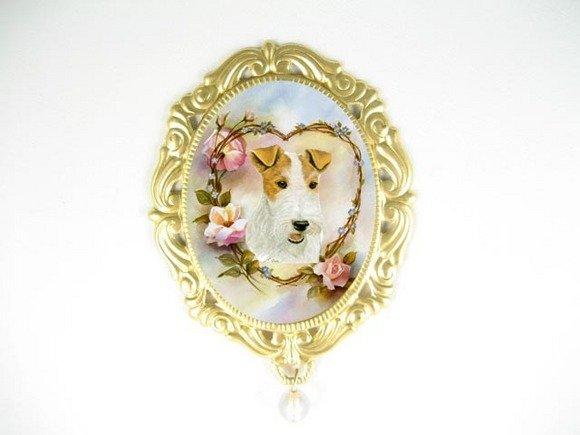FOX TERRIER DOG ROSE OPAL PORCELAIN CAMEO PIN PENDANT