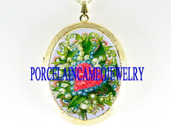 LILY OF THE VALLEY ROS PORCELAIN CAMEO LOCKET NECKLACE