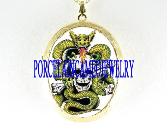 PIRATE SKULL DRAGON PORCELAIN CAMEO LOCKET NECKLACE