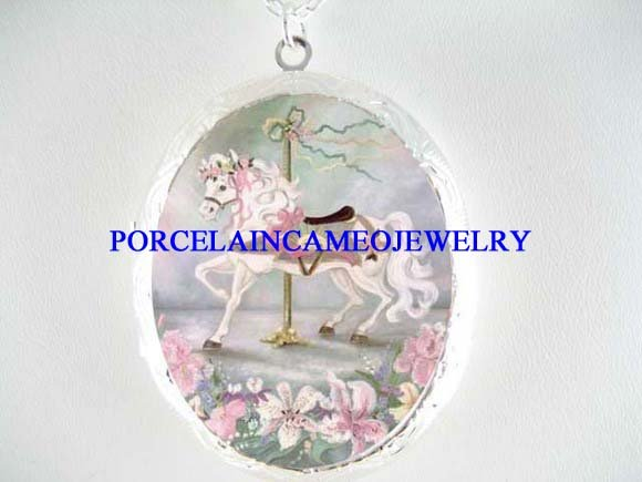 PINK CAROUSEL LILY PORCELAIN CAMEO LOCKET NECKLACE