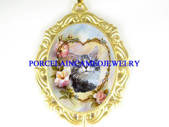 CALICO CAT ROSE HEART PORCELAIN CAMEO PENDANT NECKLACE