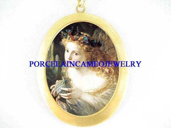 VICTORIAN  BUTTERFLY FAIRY ANGEL  PORCELAIN CAMEO NECKLACE