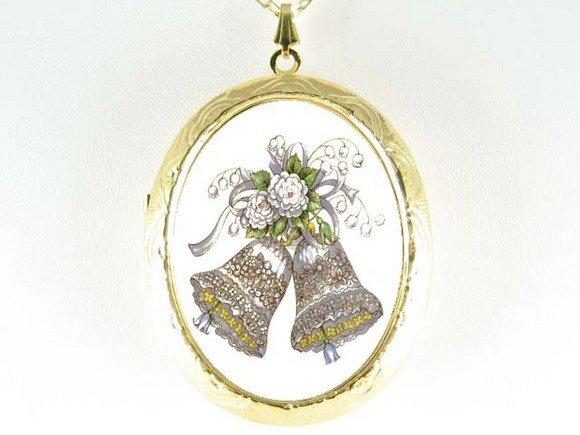 PROMISE WEDDING BELL PORCELAIN CAMEO LOCKET NECKLACE