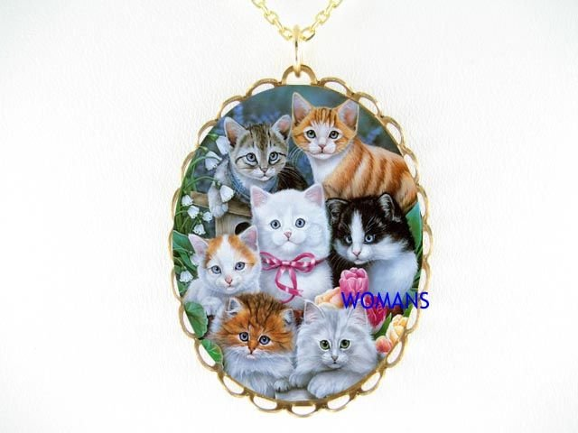 LILY OF THE VALLEY KITTY CAT CAMEO PORCELAIN NECKLACE
