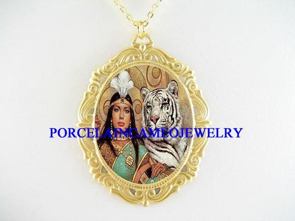 WHITE TIGER AND WOMAN PORCELAIN CAMEO PENDANT NECKLACE