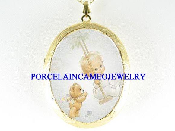 ANGEL TEDDY BEAR SWING PORCELAIN CAMEO LOCKET NECKLACE