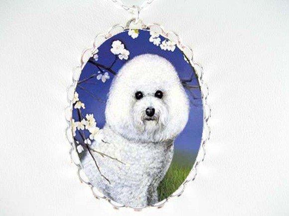 BICHON FRISE DOG CHERRYBLOSSOM PORCELAIN CAMEO NECKLACE