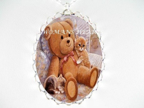 2 CAT KITTEN TEDDY BEAR PORCELAIN CAMEO PENDT NECKLACE