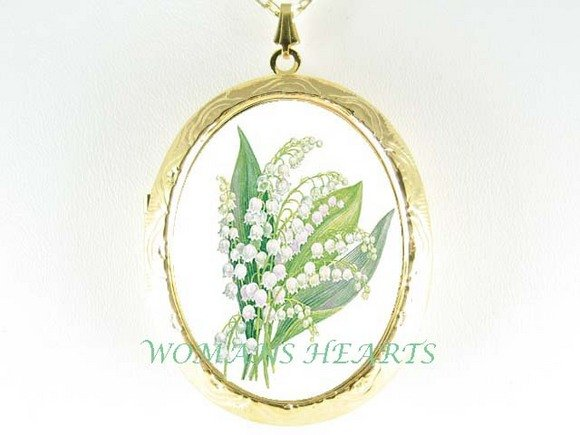 MAY LILY OF THE VALLEY CAMEO PORCELAIN LOCKET NECKLACE