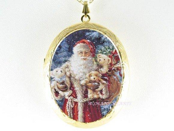 CHRISTMAS SANTA TEDDY BEAR PORCELAIN LOCKET NECKLACE