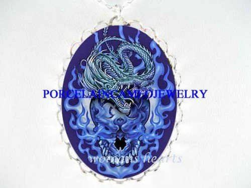 BLUE DRAGON SKULL FIRE PORCELAIN CAMEO PENDT NECKLACE
