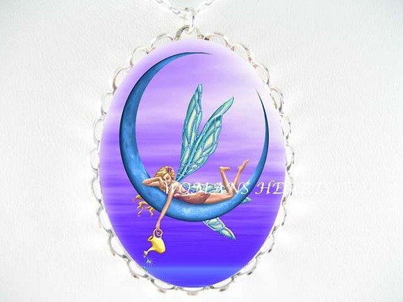 DRAGONFLY FAIRY PURPLE MOON CAMEO PORCELAIN NECKLACE