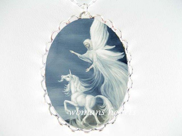 UNICORN GUARDIAN ANGEL PORCELAIN CAMEO PENDNT NECKLACE