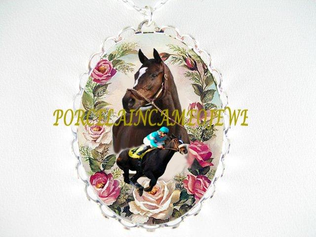 ZENYATTA HORSE RUNNING ROSE PORCELAIN CAMEO PORCELAIN NECKLACE