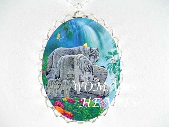 GREY WOLF WOLVES WATERFALL PORCELAIN CAMEO NECKLACE