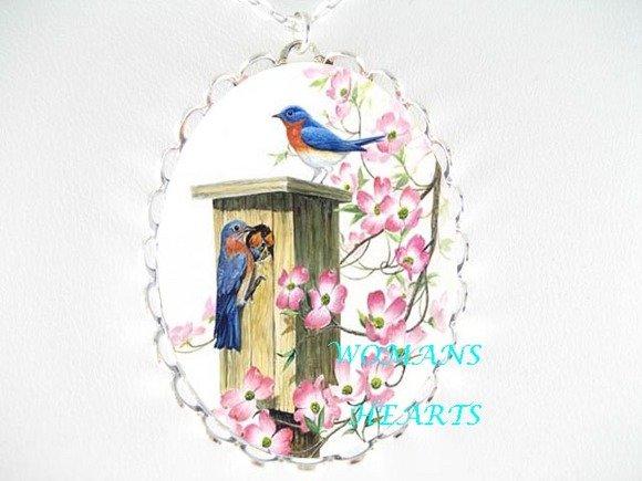 PINK DOGWOOD BLUE BIRD PORCELAIN CAMEO PENDNT NECKLACE